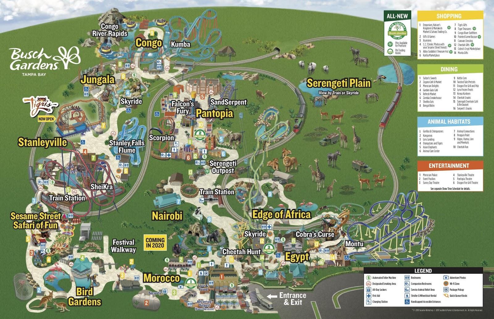 Mapa Parque Busch Gardens