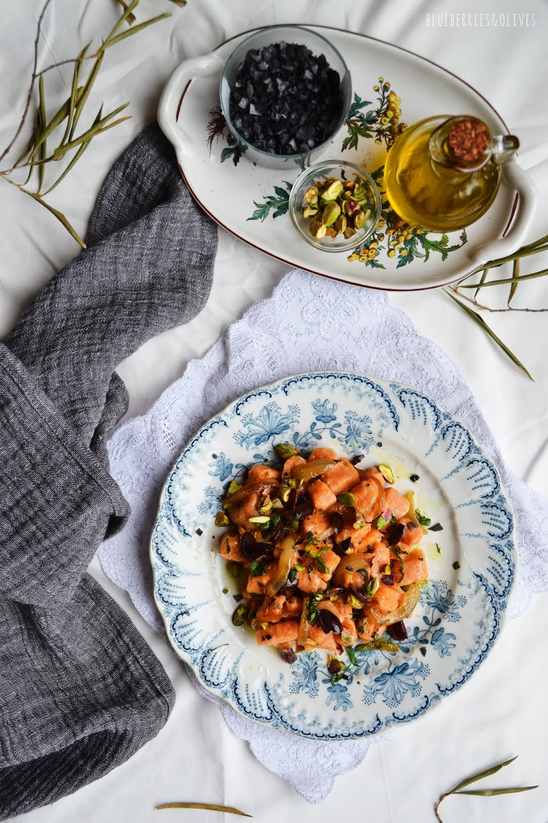 SWEET POTATO GNOCCHI WITH OLIVES AND PISTACHIOS