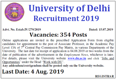 Delhi University Recruitment 2019
