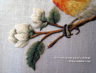Detail of thread painted branch and flowers. (Robin by Trish Burr (Inspirations))
