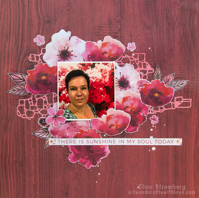Scrapbooking Layout with watercolor flowers
