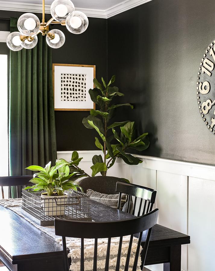 Velvet green drapes in dining room