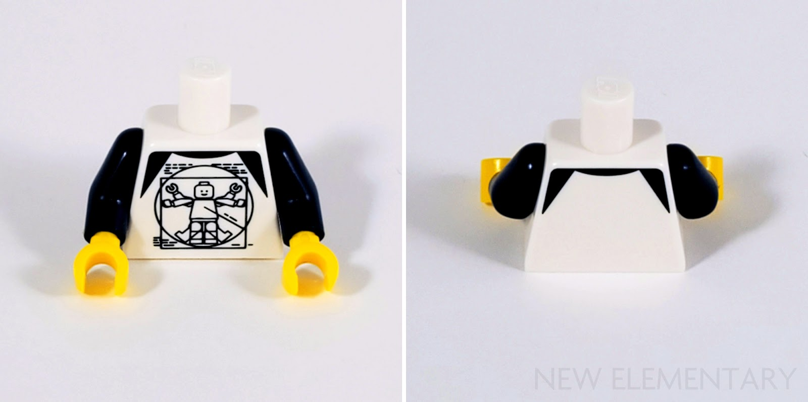 Lego 20 New White Minifigure Torsos with Flesh Hands and Necklace Pieces