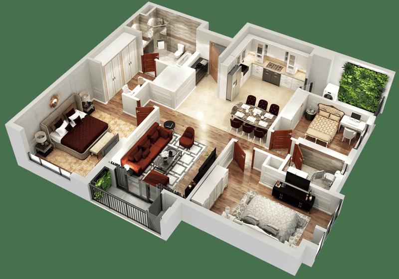 Mặt bằng 3D căn hộ 05 và 10 tòa Sapphire 2
