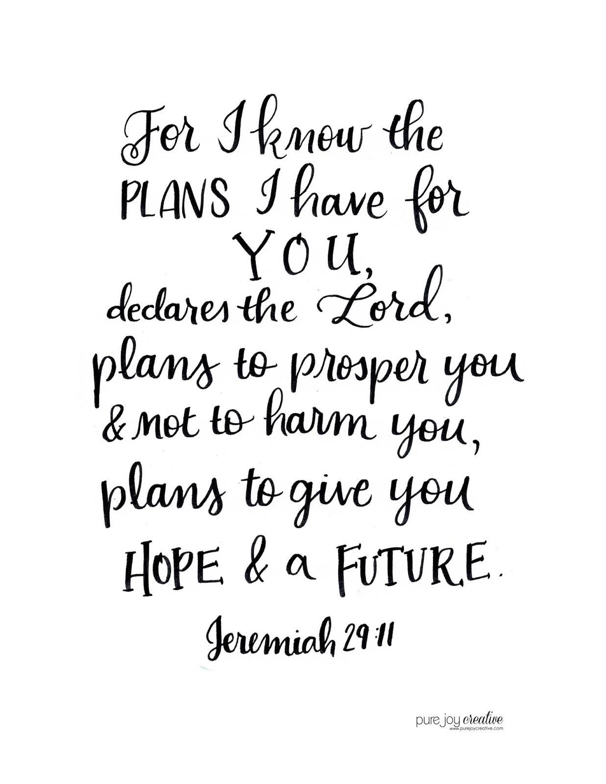 Pure Joy Creative: Jeremiah 29:11 FREE printable