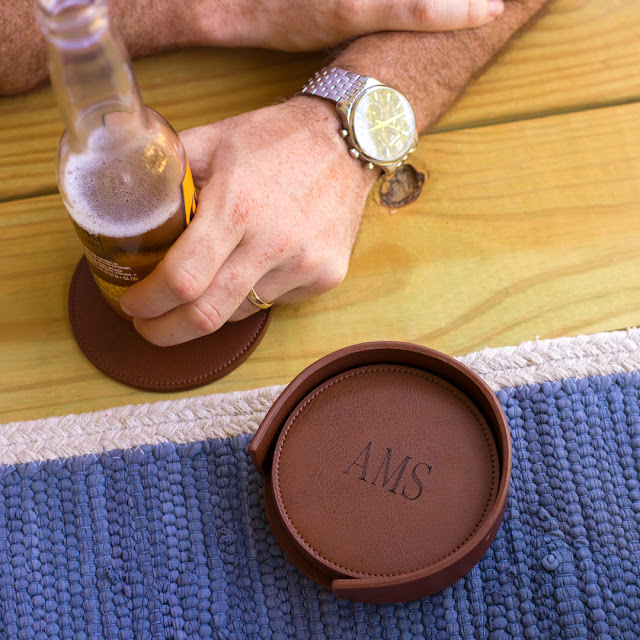 brown leather cup coaster
