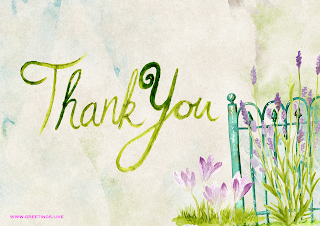 hand painted Thank you greetings card Images