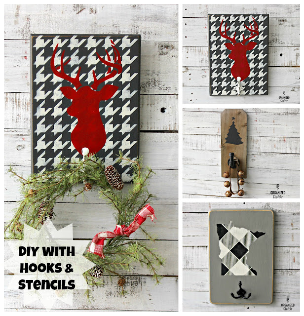 3 DIY Projects with Paint, Stencils, Hooks & Leftovers #pipehook #oldsignstencils  #upcycle #stencil #buffalocheck #houndstooth #hobbylobbyhook #rusticdecor