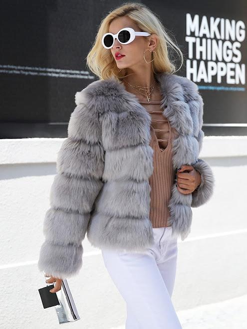 Best Women's Grey Faux Fur Coats Jackets