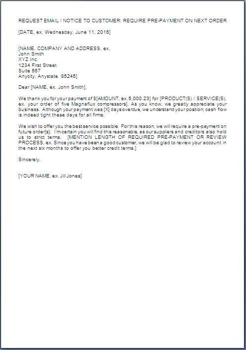 advance payment required letter