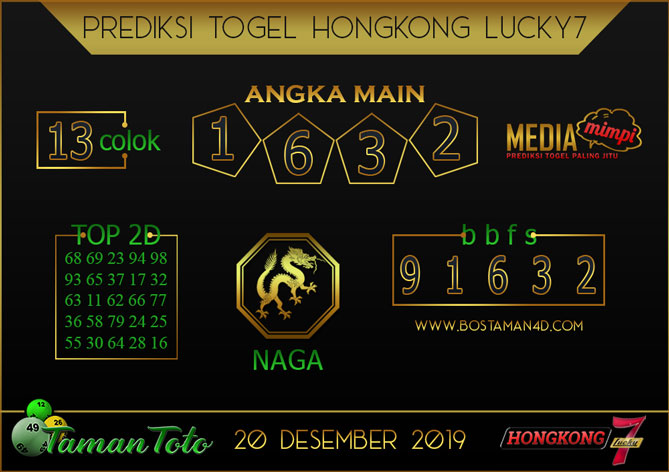 Prediksi Togel HONGKONG LUCKY 7 TAMAN TOTO 20 DESEMBER 2019