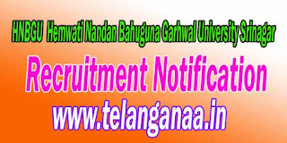 HNBGU (Hemwati Nandan Bahuguna Garhwal University Srinagar) Recruitment Notification 2016