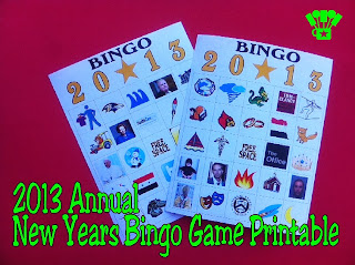 2013 New Years Bingo Game Free Printable by Kims Kandy Kreations. Remember the highs & Lows of 2013 with a fun bingo game for your New Years party