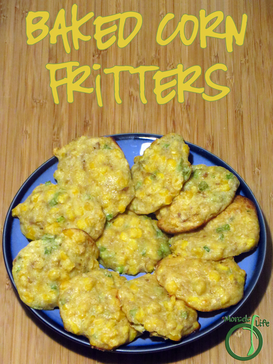 Morsels of Life - Baked Corn Fritters - Flavorful baked corn fritters made with caramelized onions and Parmesan cheese. Throw in some corn meal for extra texture!
