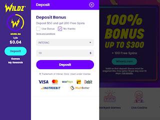 Interac etransfer online casino