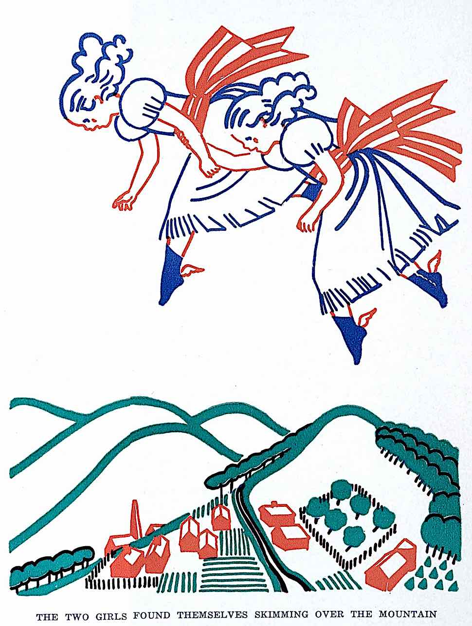 The two girls found themselves skimming over the mountain, an Elizabeth Enright children's book illustration
