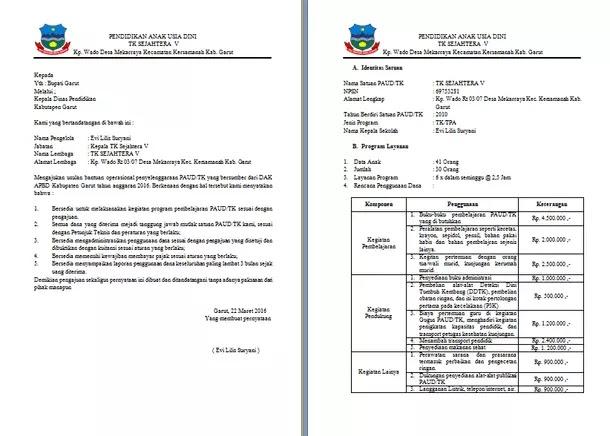 Contoh Format Pengajuan Dana BOP PAUD TK melalui DAK (Dana Alokasi Khusus) APBD