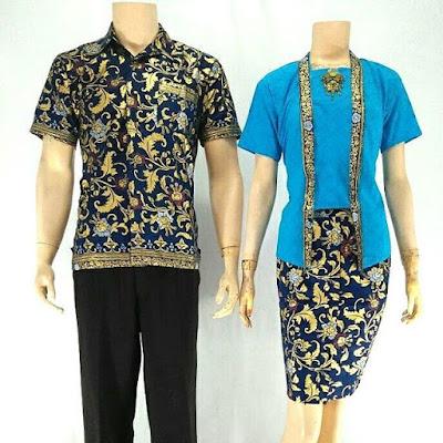 Batik Sarimbit Velisa Rose biru muda