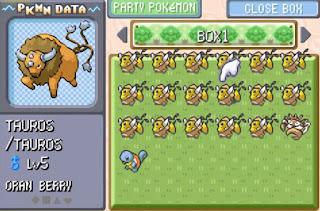 Pokemon Ash Johto para GBA Tauros de Ash Kanto