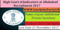 High Court of Judicature at Allahabad Recruitment 2017– 39 Additional Private Secretary