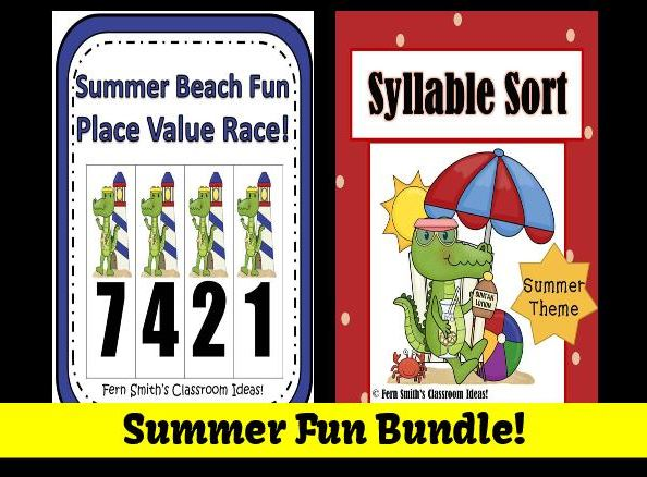 Summer Fun Bundled Center Games for Common Core by Fern Smith's Classroom Ideas