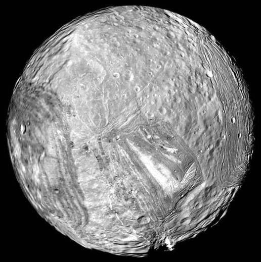 Miranda image taken by Voyager 2
