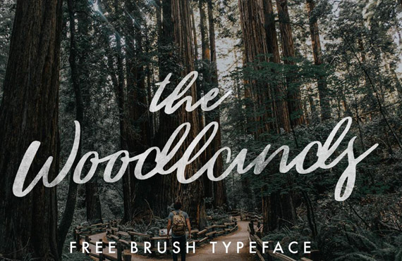 woodlands free lettering style font