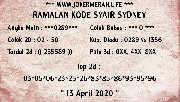 Prediksi Togel Sidney Senin 13 April 2020 - Joker Merah Sidney