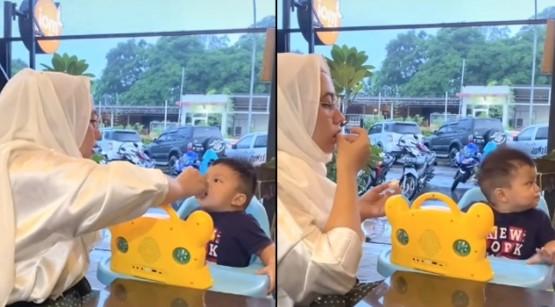 Kocak, Ibu ini Ikutan Makan saat Menyuapi Anak, Panik Pas Sadar Lagi Puasa