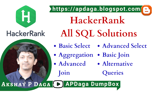 HackerRank: SQL - All solutions (Basic Select, Advanced Select, Aggregation, Basic Join, Advanced Join, Alternative Queries)