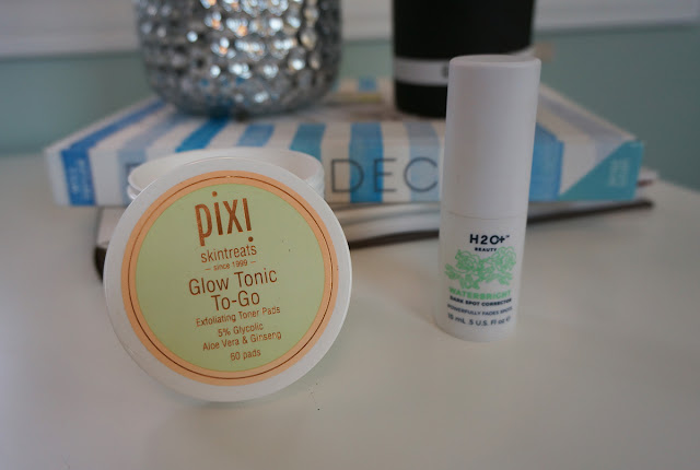 Pixi beauty glow tonic to-go and H2O+ Beauty Waterbright dark spot corrector