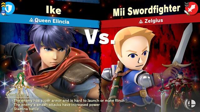 Zelgius Spirit Battle description vs. screen Super Smash Bros. Ultimate