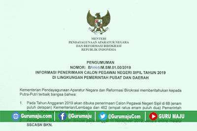 Pengumuman Jadwal dan Formasi CPNS 2019 RESMI