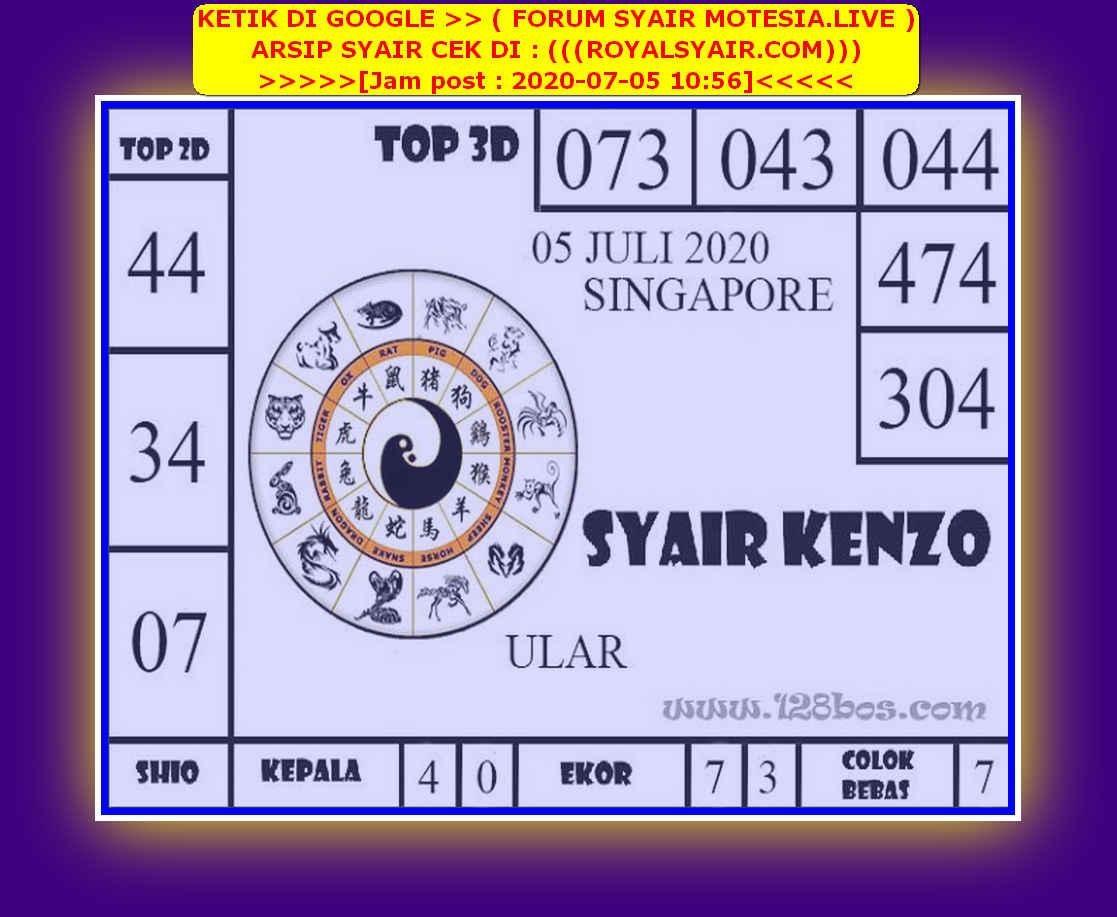 Kode syair Singapore Minggu 5 Juli 2020 107