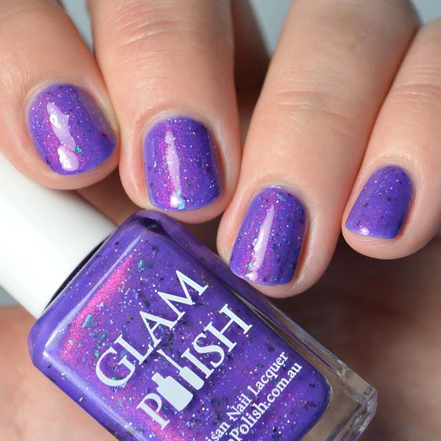 purple shimmer nail polish swatch