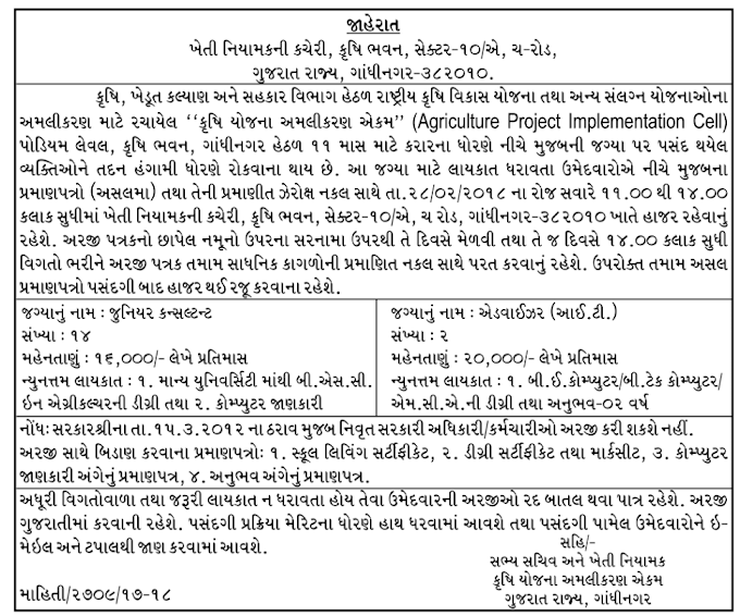 Agriculture Project Implementation Cell Gandhinagar Recruitment for Various Posts - 2018
