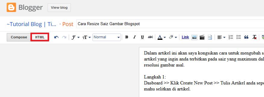 Cara Resize Saiz Gambar Blogspot