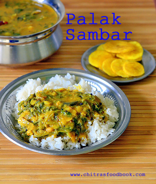 Spinach sambar recipe