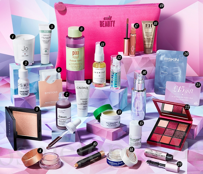 Contents and spoilers of the Cult Beauty Best of 2019 Goody Bag, a gift with purchase that ships worldwide.
