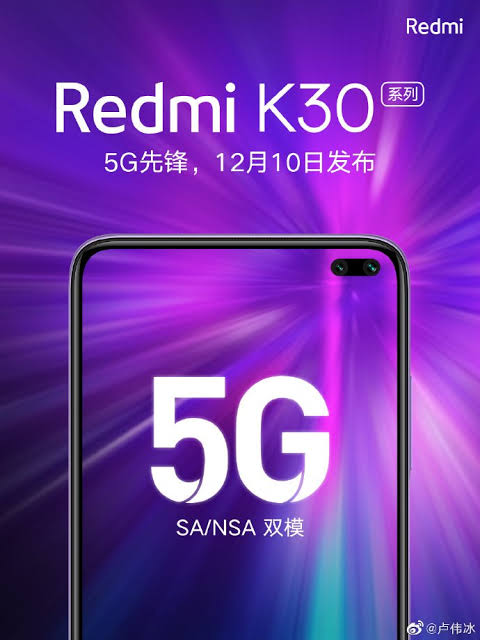 Redmi K30 Is Coming In December With 5G Support