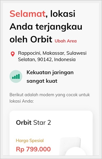 Cek jangkauan Orbit