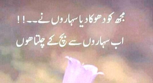 muj ko doka ka diya saharo nay Urdu Quotes