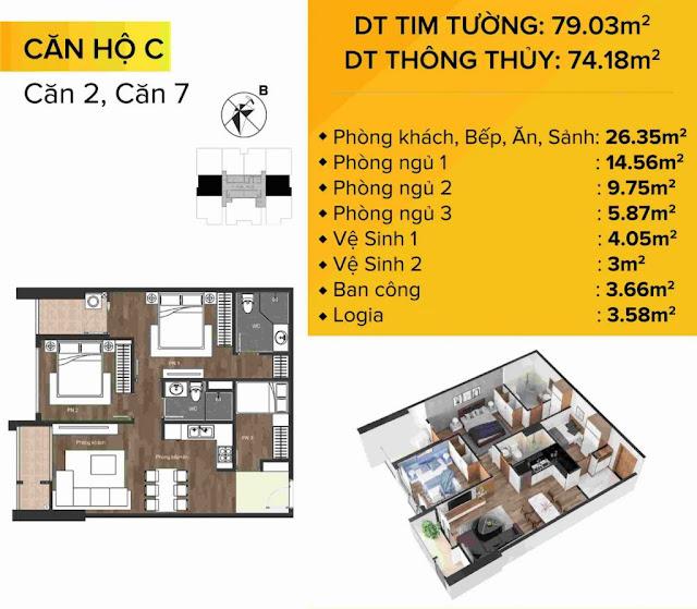 Mặt bằng Thiết kế chi tiết căn hộ C – Căn 02 và 07