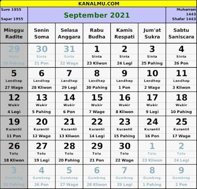 kalender september 2021 lengkap jawa hijriyah