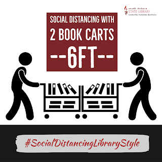 social distancing with 2 book carts = 6 feet Hashtag Social Distancing Library Style