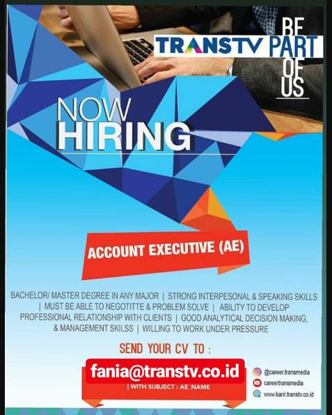 Lowongan Kerja Account Executive Trans TV Juni 2019