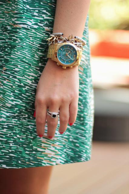 michael kors stop hunger watch, michael kors stop hunger, michael kors watch, gold watch blue face