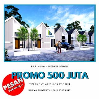 Jual Rumah desain kekinian, DISKON 100 Juta, Row jalan komplek 8 meter di Medan Johor - Cluster Sayana