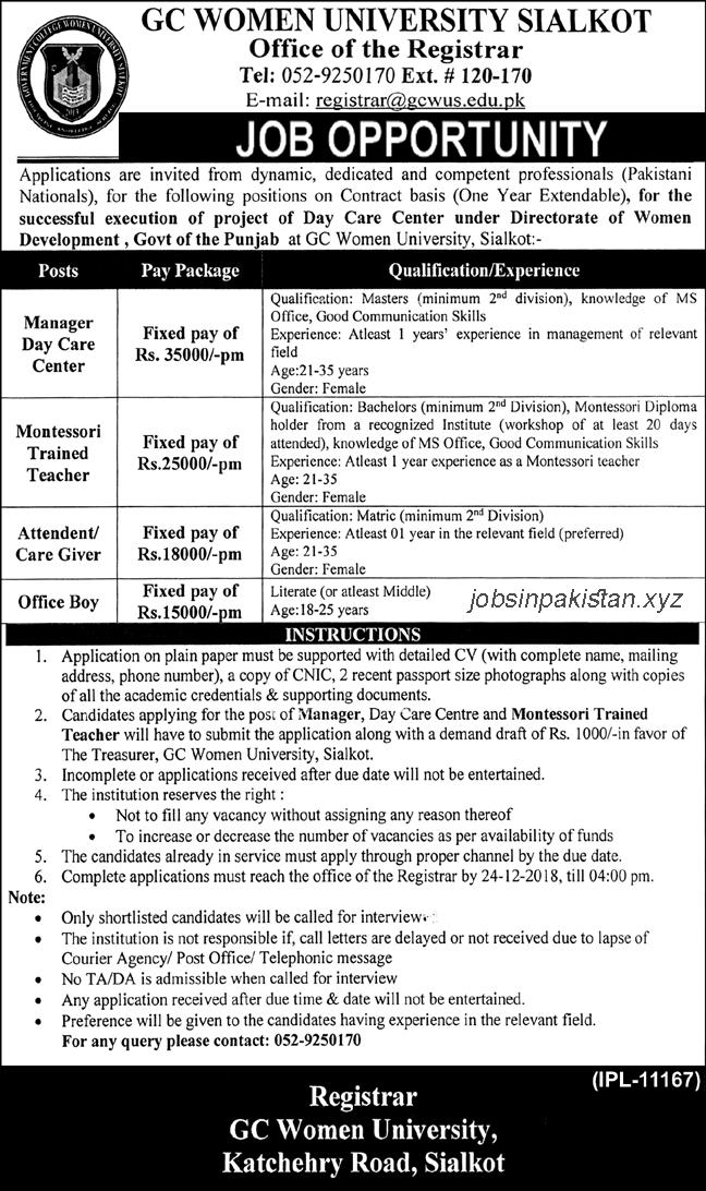 Advertisement for GC Women University Sialkot Jobs 2018