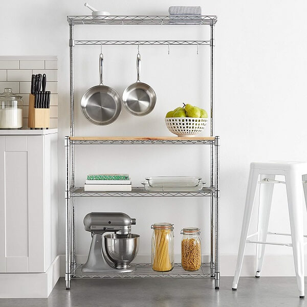 "AmazonBasics Kitchen Storage Baker's Rack with Table, Wood/Chrome - 63.4"" Height"